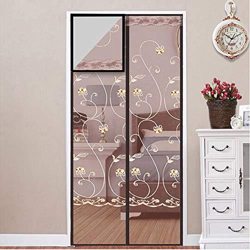 Hand gratis scherm deur muggengaas deur scherm opknoping gaas gordijn voor veranda Patio deuropening houdt bugs uit, opgewaardeerd scherm deur met magneten 110x220cm(43x87in) Koffie Kleur