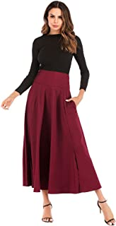 2018 Newly Pocciol Everyone Love Skirt,Newly Pleated Long Skirt Front Slit Belted High Waist Maxi Ankle-Length Skirt