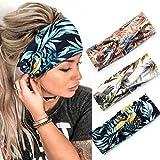 Zoestar Boho Criss Cross Stirnbänder Schwarz Yoga Head Wraps Vintage Gedruckt Haarschal Stilvolle Elastische Haarbänder für Frauen (3 Stück) (D)