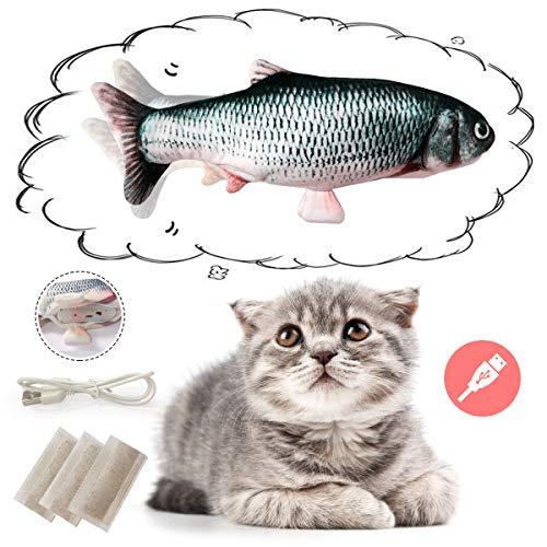 Ledeak Elektrisch Spielzeug Fisch, Realistische Plüsch Simulation Puppe Fisch, Katze interaktive Spielzeug mit Katzenminze, Elektrische Plüsch Kauen Spielzeug für Katze Kitty kätzchen