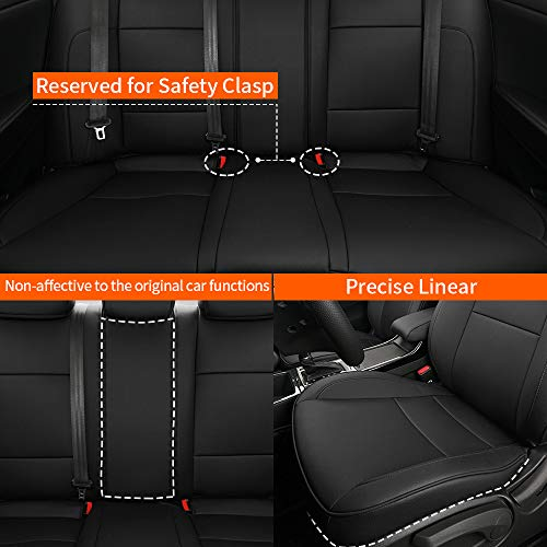 Car Seat Covers Full Set Faux Leather Custom Fit for 2015 2016 2017 2018 2019 Toyota Highlander 7 Passenger 3 Row Seat Protector Compatible Airbag Black