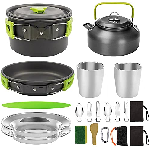 MZXUN Outdoor Pots Pans Camping Cookware Picnic Cooking Set Non-stick Tableware With Foldable Spoon Fork Knife Kettle Cup Picnic Tools (Color : As pic5)