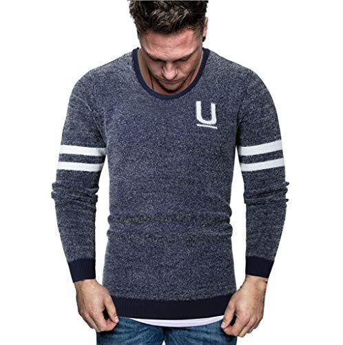 Men Simple Splicing Sweaters Autumn Winter Warm Long Sleeve Round Neck Knitting Jumpers Pullover Tops Blouse M-2XL