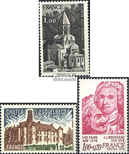 Prophila Collection Frankreich 2109,2110,2111 (kompl.Ausg.) 1978 Tourismus, Voltaire / Rousseau (Briefmarken für Sammler) Christentum