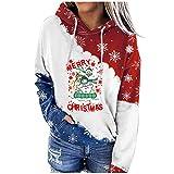 Berimaterry ropa de otoño invierno sudaderas mujer con capucha de Navidad chándal mujer moda camisetas manga larga con capucha hoodies Christmas con estampado de Xmas Jerséis originales baratos