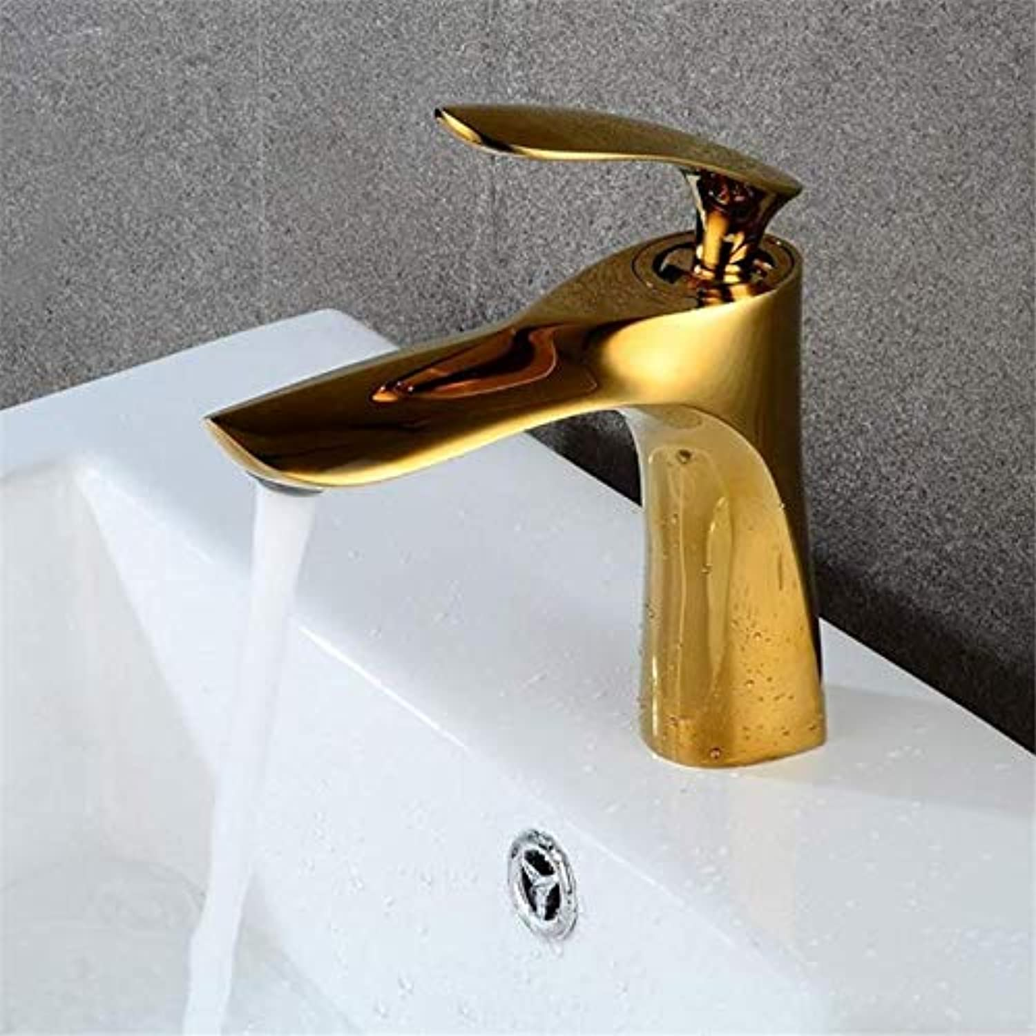 Stylish hot and Cold Faucet, Bathroom Retro Basin Faucet, Single Nozzle Sink Brass Mixer, Hotel Faucet gold