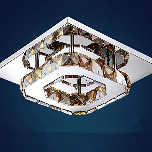 Lincjly Kristalldeckenleuchte, 12W LED Moderne Deckenleuchte Unterputzleuchte LED Chrom quadratische Kristalldeckenleuchte (Color : Three-Color dimming, Size : Amber Crystal)