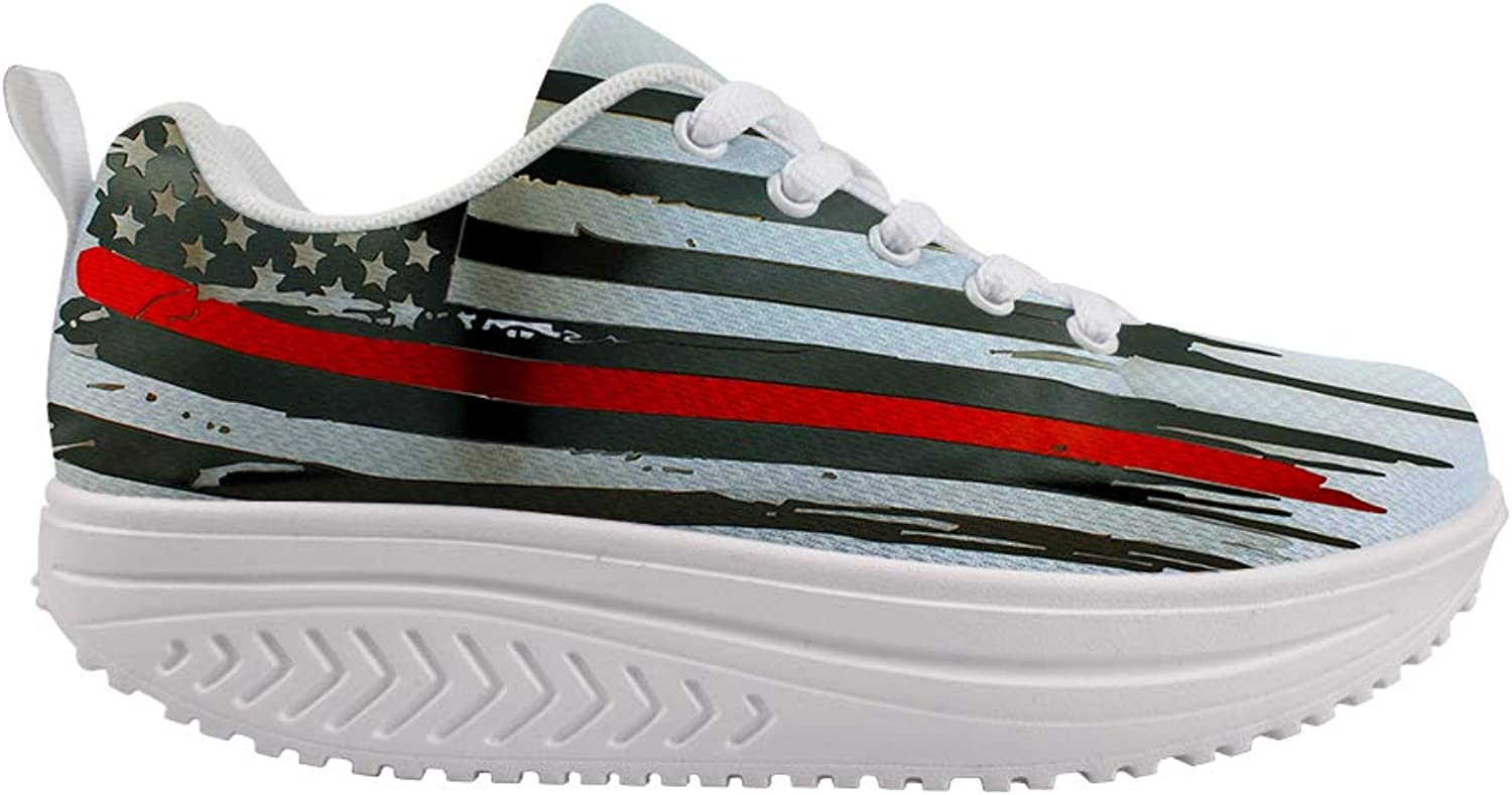 Owaheson Swing Platform Toning Fitness Casual Walking shoes Wedge Sneaker Women Thin Red American Flag