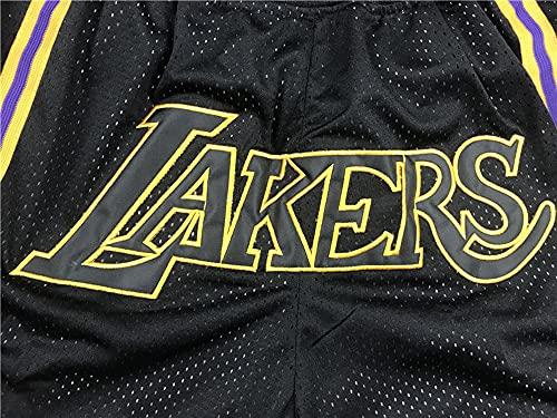 Wo nice Pantalones Cortos De Baloncesto para Hombres, Los Angeles Lakers Pantalones Cortos Sueltos Baloncesto NBA Shorts Jersey Baloncesto Transporte Shorts,Negro,L(175~180CM)