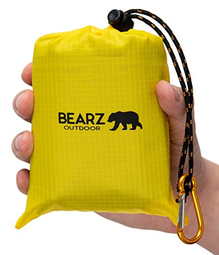BEARZ Outdoor Beach Blanket/Compact Pocket Blanket 55?x60?, Waterproof Ground Cover, Sand Proof Picnic Mat for Travel, Hiking, Camping, Festival - Durable Tarp w/Corner Pockets, Loops, Bag (Yellow)