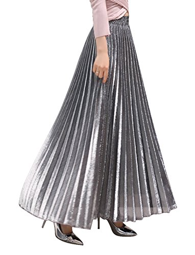 CHARTOU Women's Premium Metallic Shiny Shimmer Accordion Pleated Long Maxi Skirt (X-Large, Silver)