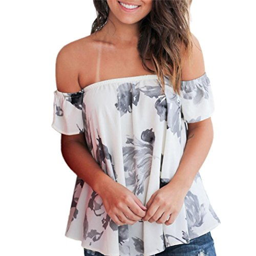 Women Tops, Neartime Women Off Shoulder Tops Floral Printed Short Sleeve T Shirt (L, White)