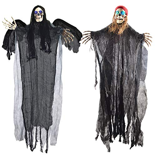 """JOYIN Two 40"""" Halloween Hanging Ghost Decorations, One Flying Grim Reaper and One Skeleton Pirate with LED Flashing Eyes"""