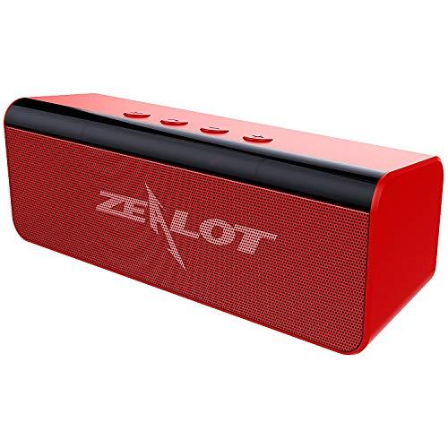Cassa Bluetooth Portatile, Zealot Altoparlante Bluetooth 5.0 Speaker Wireless Stereo Suono Potente con Microfono Incorporato,10 ore di Riproduzione AUX/TF card/USB per Esterno Casa Viaggio-Rosso