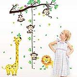 Keleily Jungle Autocollants Muraux Stickers Muraux Enfants Animaux Toise Murale Enfant Singe Girafe Lion Arbre pour Chambre Denfants, Chambre de Bébé, Salon - Zoo de la Jungle