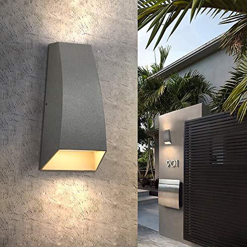 ZMH Aplique de pared LED interior/exterior up down antracita punto de pared 3000K aplique blanco cálido 7W IP65 lámpara de exterior impermeable para baño balcón jardín terraza iluminación exte