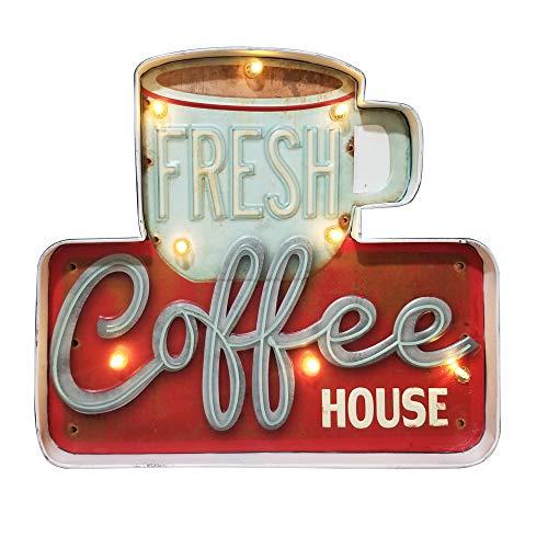 FSVEYL Enseignes Lumineuses Décorations Murales De Café, Décor en étain Gaufré Fait à La Main Vintage en Métal, Signe de Suspension Murale de Style Industriel, pour La, Bar,Cuisine (Fresh)