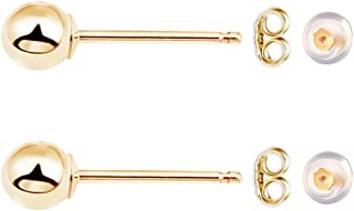 Exquisite 14K Gold Filled Ball Bead Stud Earrings for Men, Women, Boys and Girls. 5mm Ball.