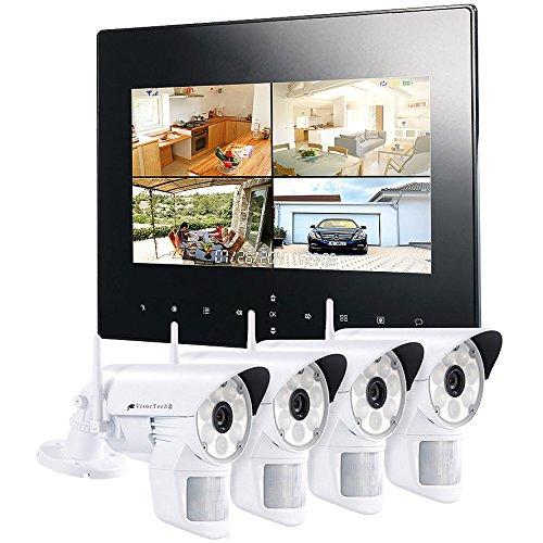 VisorTech Mini Funkkamera: Digitales Überwachungssystem DSC-720.mc mit 4 LED-HD-Kameras (IP54) (Mini Überwachungskamera Funk)