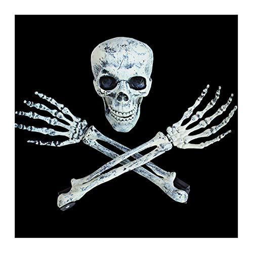LYQZ Realistisch aussehende Skeleton Stakes, Plastik Scary Schädel und Hände Skelett mit Stakes, Anzug for Gartenlage Halloween-Dekorationen