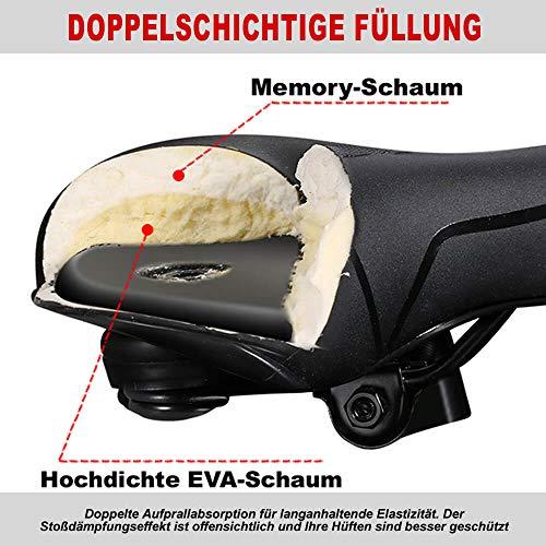 toptrek Fahrradsattel Memoryschaum gefüllt MTB/BMX Sattel mit überzug Bequemer Hohl und Ergonomischer Fahrradsitz Breiter Tourensattel Velo Sattel Herren Damen für Rad/Rennrad/Mountainbike/EMTB - 2