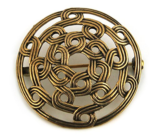 Bronze Gold Viking Shield Brooches ,Clothes Fasteners - Cloak, Shawl, Scarf Pin, Celtic Irish Norse Vintage Jewelry (Brooch V.2)