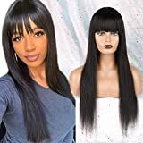 Huarisi Straight Wig with Bangs Long Human Hair None Lace Front Wigs Glueless Brazilian Wigs 22inch Natural Straight Human Hair Wigs with Fringe Density 150% Machine Made for Women