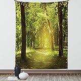 Lunarable Woodland Tapisserie, Doppelgröße, hohe Waldbäume im Morgen, friedliche Umgebung in grüner Natur, Wandbehang, Tagesdecke, Wanddekoration, 172,7 x 223,5 cm, Grüne Schokolade