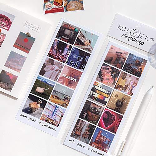 PMSMT JIANWU 8 Hojas Estilo Retro Pegatinas Frescas Diario álbum de Recortes Collage Foto película Serie Decorativa DIY Diario Pegatinas papelería