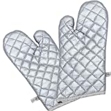 ANOEEX Kitchen Aid Anti-scalding Heat Insulation Mitts Heat Resistant Oven Gloves Anti Slip Oven Mitts with Double Stainless Steel Wall Hooks