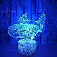 JPSSYXLCC 車のカラフルな3D LEDナイトライトスポーツカーカラフルなランプタッチテーブルランプギフト3Dテーブルランプ