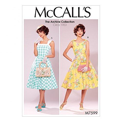 McCall's Damen Schnittmuster 7599 Vintage Style Gefüttert Ausgestellte Kleider mit Petticoat