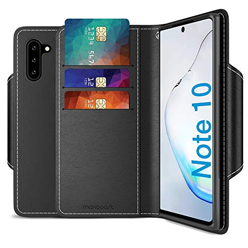 Maxboost mWallet Designed for Galaxy Note 10 Case[FolioCover][Stand Feature] Premium Samsung Note10 Wallet Case Credit Card Holder [Black] PU Leather Wallet + Side Pocket Magnetic Closure