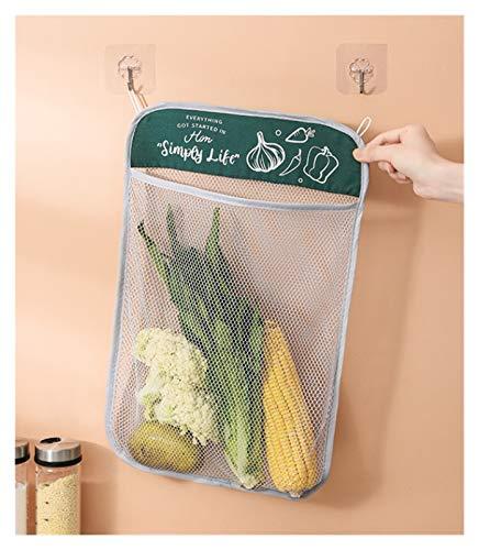 SSN Inicio Colgando Ajo Bolsillo Colgante Bolsa Cocina Jengibre Ajo Fruta Y Vegetal Bolsa De Almacenamiento Bolsa De Vegetales Bolsa De Neto De Ajo De Cebolla (Color : Azul)