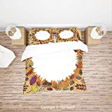 FashSam 4 Piece Bedding Sets Breathable Circular Frame with Dried Leaves Nuts Mushrooms Persimmon Environment...