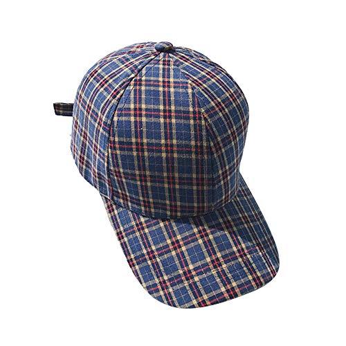 JUNGEN Sombrero y Gorra para Mujer Hombre Gorra de béisbol a Cuadros Gorra de béisbol Ajustable Gorra de Algodon Gorra de Visera Sombrero de Sol de Moda para Al Aire Libre (Azul)