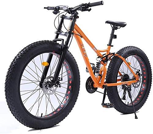 Xiaoyue 26-Zoll-Frauen Mountainbikes, Doppelscheibenbremse Fat Tire Mountain Trail Bike, Hardtail Mountainbike, Verstellbarer Sitz Fahrrad, High-Carbon Stahlrahmen, Orange, 27 Geschwindigkeit lalay