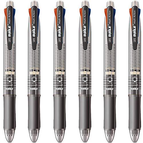 Shulaner 4 kleuren gekleurde balpen 0,7 mm en 0,5 mm mechanisch potlood in één pen, 4 + 1 multifunctionele pennen, 6 stuks
