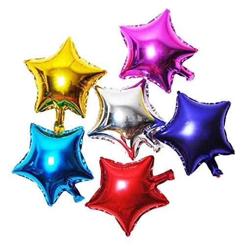 DIWULI, 10 Stück Bunte Mini DIY Stern-Ballons, Geschenke basteln und verschönern, Geschenk-Deko Luftballons, Folien-Luftballons, kleine Sternform Folien-Ballons für Geburtstag, Hochzeit, Dekoration