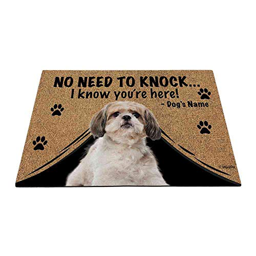Bageyou - Felpudo personalizado con nombre de perro con My Love Dog Shih Tzu Welcome Floor Mat No necesita golpear I Know You're Here 69,8 x 45 cm