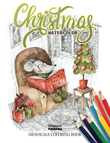 Christmas Watercolor Grayscale Coloring Book