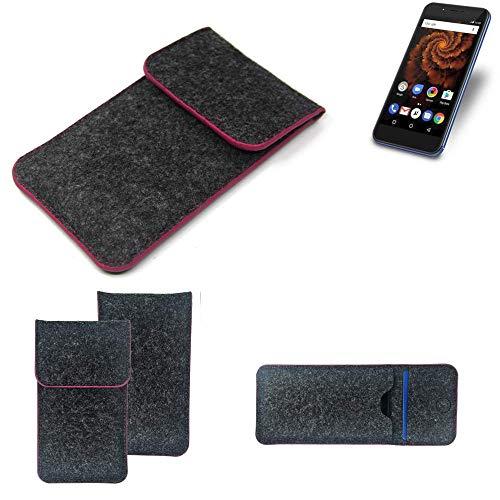 K-S-Trade® Filz Schutz Hülle Für Allview X4 Soul Mini S Schutzhülle Filztasche Pouch Tasche Case Sleeve Handyhülle Filzhülle Dunkelgrau Rosa Rand