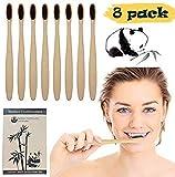 Cepillos de Dientes de Carbón – Cepillo Dental para Adultos 100% Natural, Orgánico, Biodegradable y Ecológico con Cerdas Extrafinas Suaves y Libres de BPA (Paquete de 8)