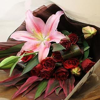 〔エルフルール〕 赤バラ10本&ピンクゆり ミックス花束 50cmサイズ