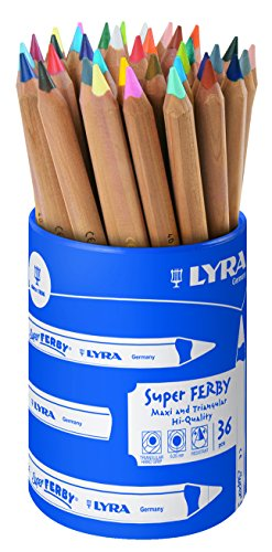 Lyra Super Ferby Colour Pencils, Assorted Unpainted 36 Farbstifte