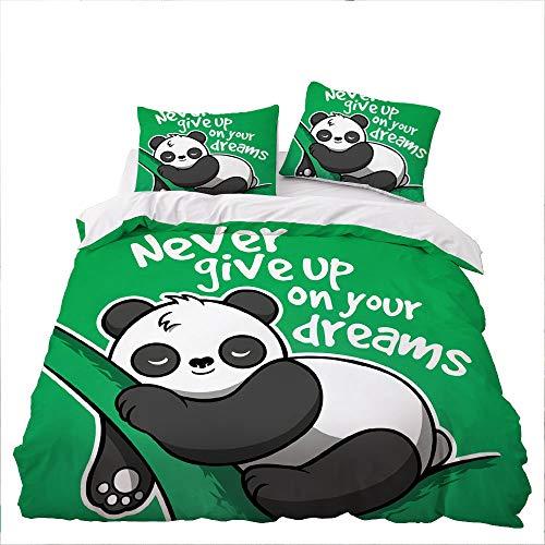GD-SJK Bedding Sets for Children, Large Panda Sea Turtle Bedding Set, Single, Double, Duvet Cover and Pillowcase (155 x 220 cm, A01)