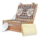 Cesta de picnic Grosvenor, para 4 personas, con accesorios y manta de vellón de color crema, idea de regalo para Navidad, cumpleaños, boda, aniversario y empresas
