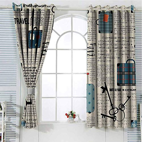 HELLOLEON Old Newspaper Decor Grommet Curtains Cream Blue Black Farmhouse Curtains 63x63 Inch Retro Style Travel Vacation Theme Vintage Suitcases Keys Dot Text