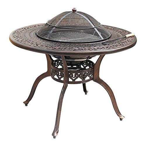 WFFF High-end Multi-functional BBQ Desk - Garden Terrace Fire Pit, Brazier, Coffee Desk, Barbecue and Ice Bucket Stainless Steel Food Rack, Washable