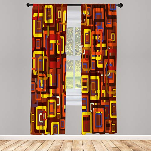 Ambesonne Abstract Window Curtain, Colorful Trippy Square Shaped Geometric Retro Textured Modern Graphic, Lightweight Decorative Panels Set of 2 and Rod Pocket, 56 x 63, Red Yellow
